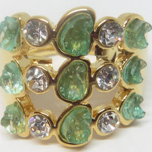 Kara Ross Resin Drusy Green Triple Stack Ring